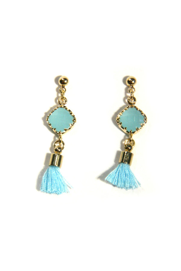 Stone and Tassel Posts Earrings | Blue or Pink | Light Years Jewelry