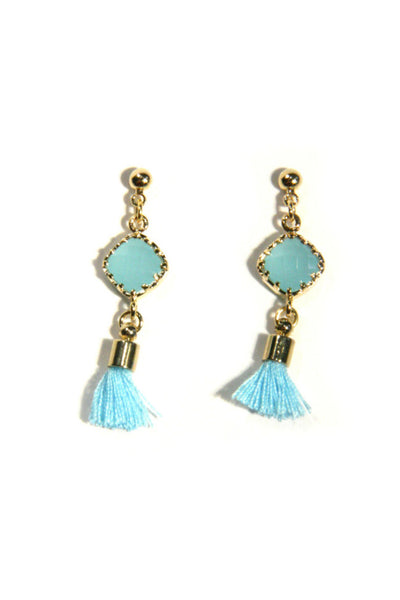 Stone and Tassel Posts, $24 | Blue or Pink | Light Years Jewelry