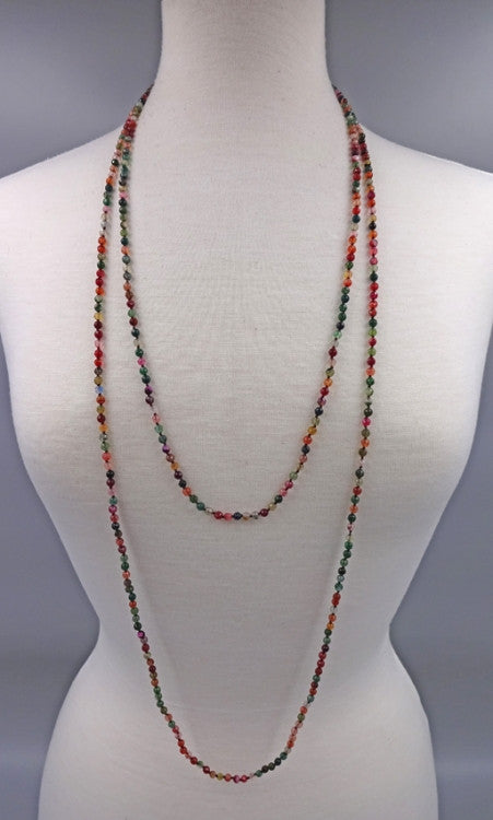 Long Gemstone Beaded Necklace | Multi Agate | Light Years Jewelry