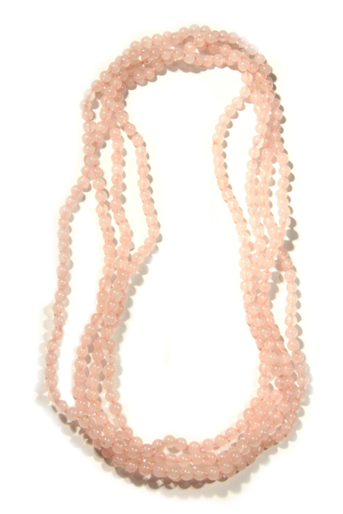Long Gemstone Beaded Necklace | Rose Quartz | Light Years Jewelry