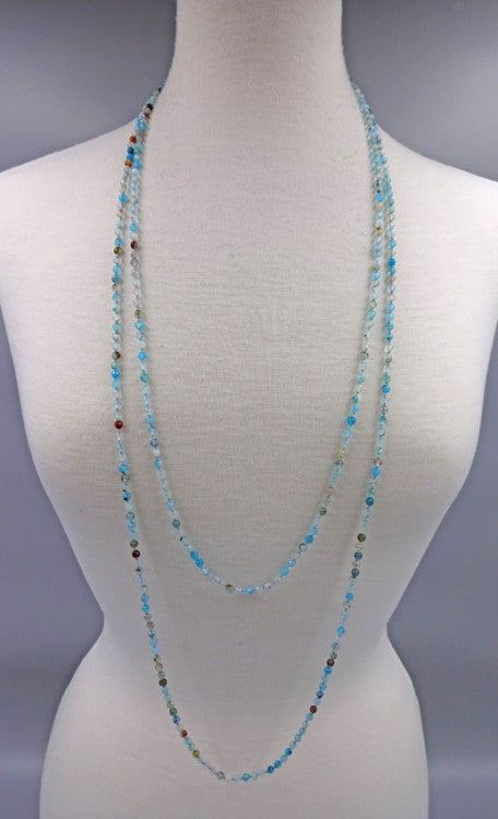 Long Gemstone Beaded Necklace | Blue Agate | Light Years Jewelry