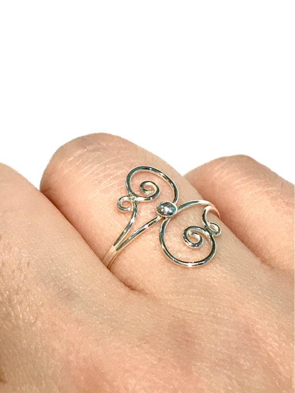 Light Swirl Ring | Sterling Silver Size 5 6 7 8 9 | Light Years Jewelry