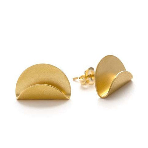 Folded Over Oval Post Earrings, $18 | Gold Studs | Light Years Jewelry