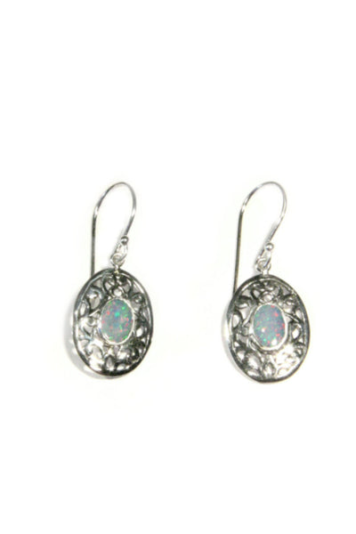 Bordered Opal Dangles, $21 | Sterling Silver | Light Years Jewelry