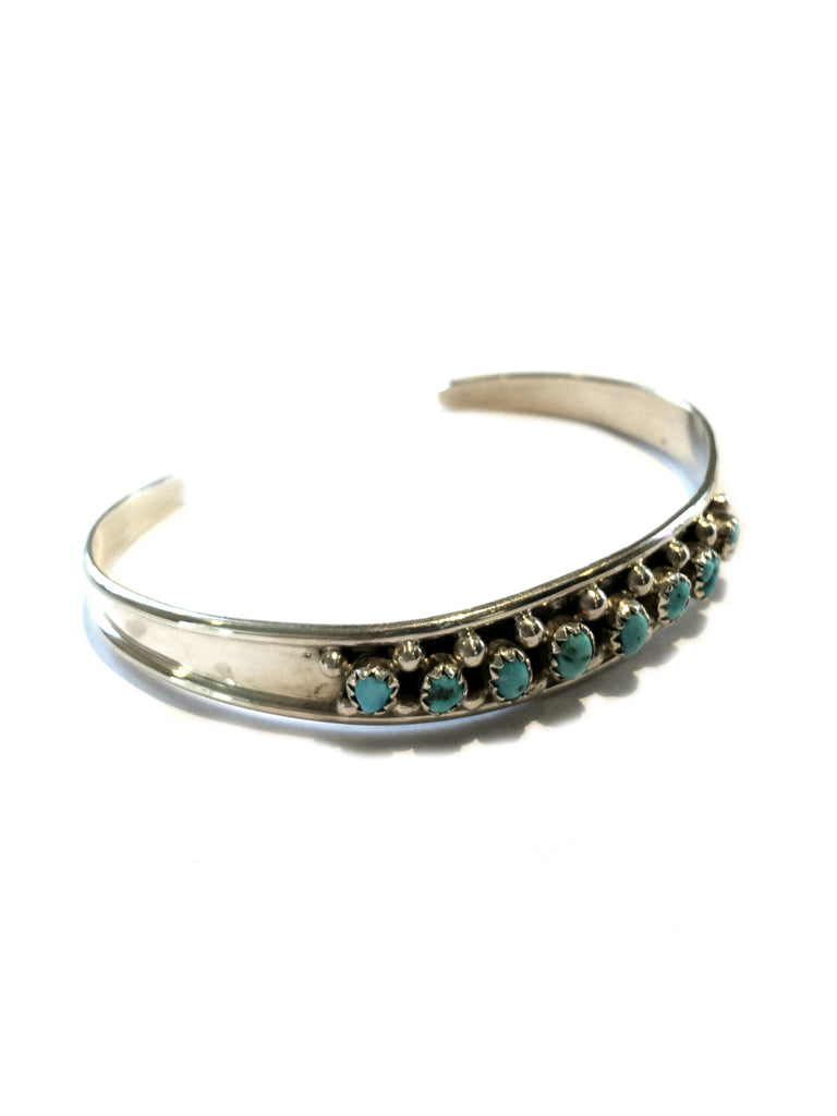 Handmade Navajo Turquoise Cuff | Sterling Silver Bracelet | Light Years