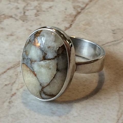 Yellow Copper Calcite Ring, $36 | Sterling Silver Size 7 | Light Years