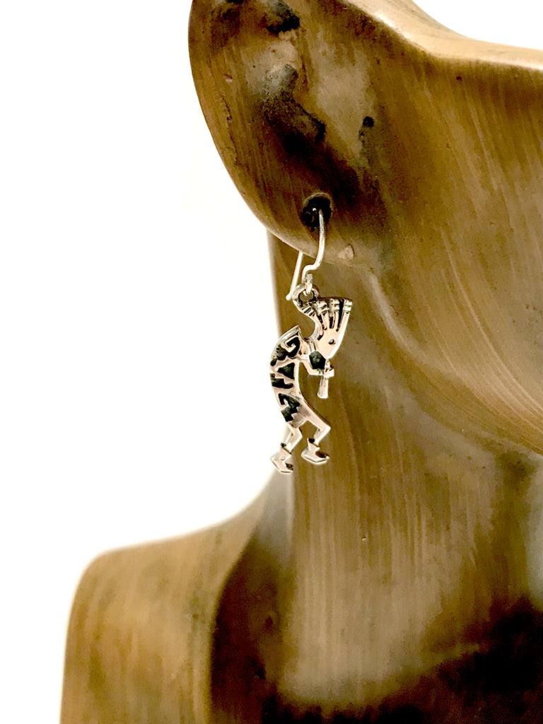 Handmade Silver Kokopelli Earrings | Navajo Shirley Henry | Light Years