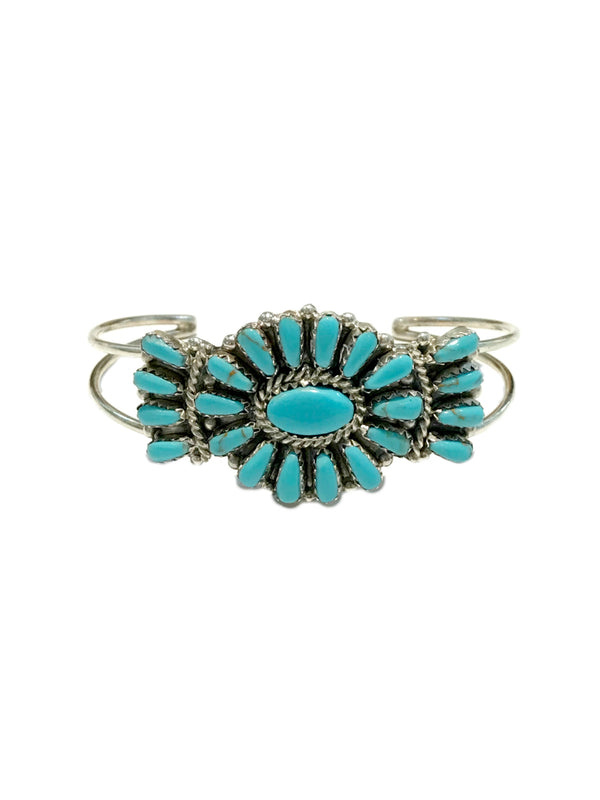 Handmade Turquoise Cuff Bracelet | Sterling Silver Navajo | Light Years
