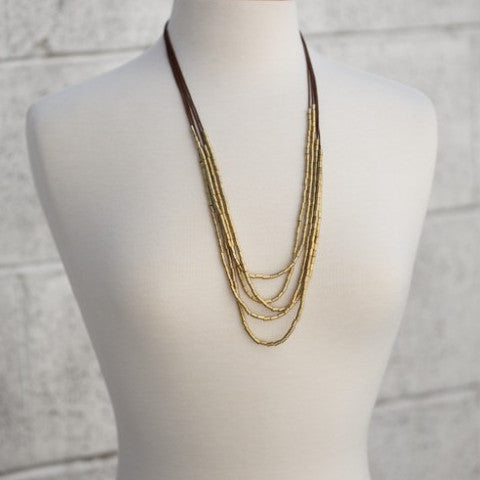 Five-Strand Bohemian Necklace by Amano, $32 | Brass and Gold-Plated | Light Years Jewelry
