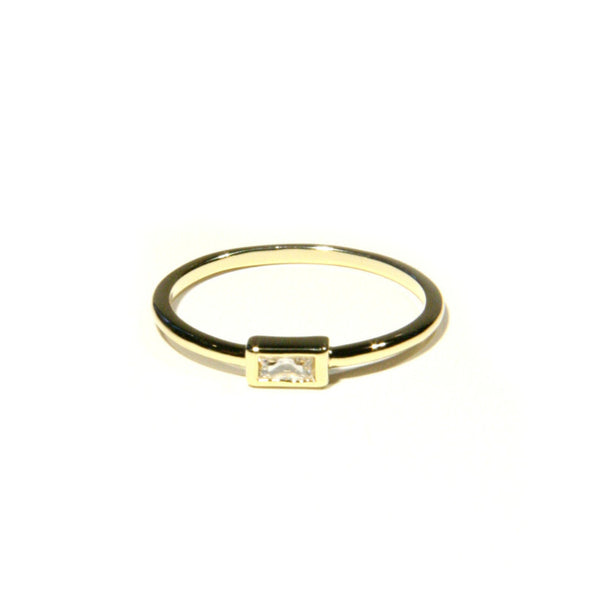 CZ Baguette Ring | Gold Plated Sizes 6 7 8 | Light Years Jewelry