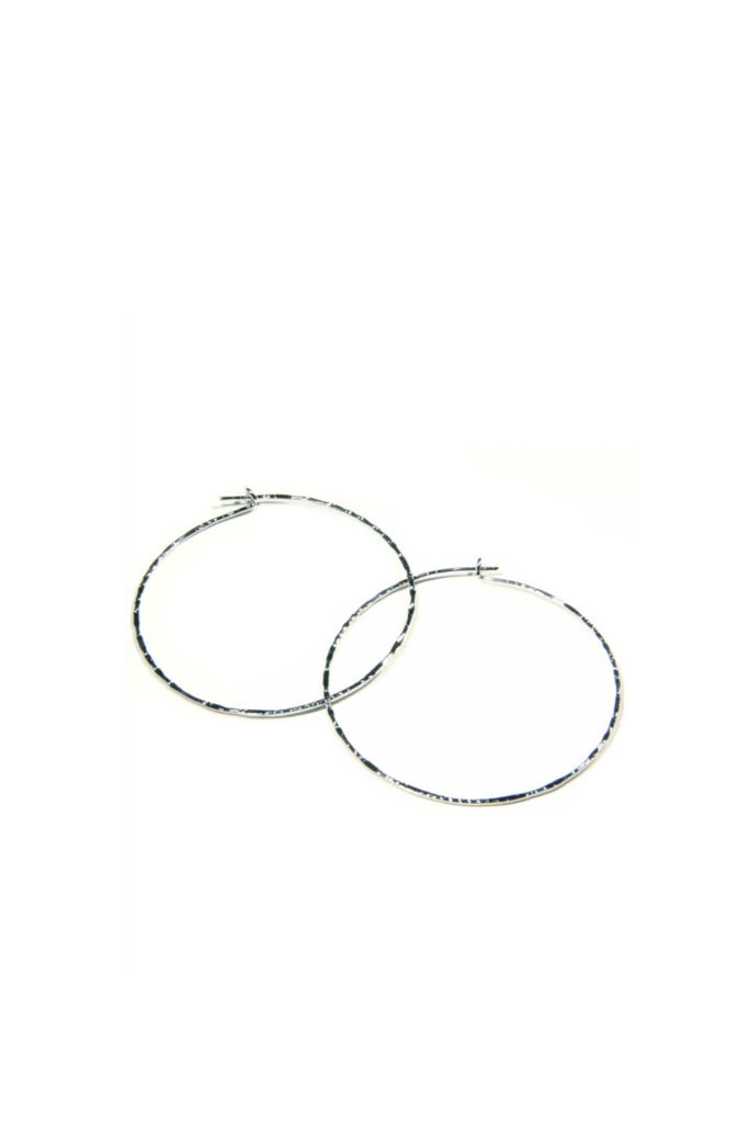 Silver Plated Thin Textured Hoop, $9 | Light Years Jewelry