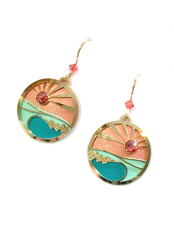 Coral Sunset Earrings by Adajio | Gold Filled Dangles | Light Years