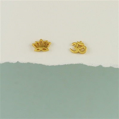 Lotus & Om Mismatched Posts, $16 | Silver & Gold | Light Years Jewelry