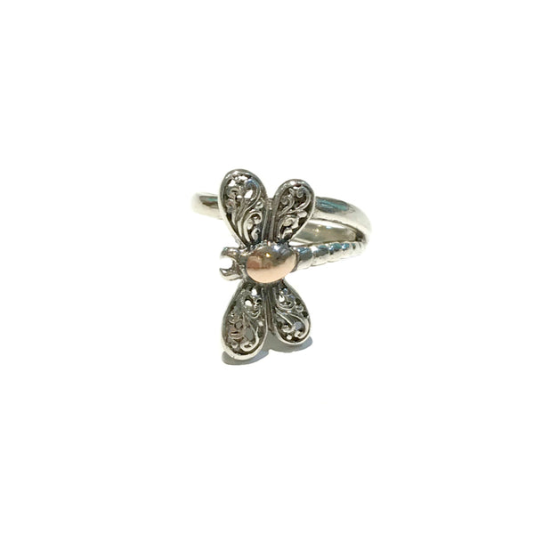 Multi Metal Dragonfly Wrap Ring | Sterling Silver Size 8 | Light Years