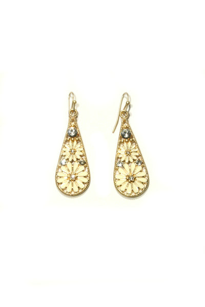 Enamel Daisy Dangles | Gold Fashion Earrings | Light Years Jewelry