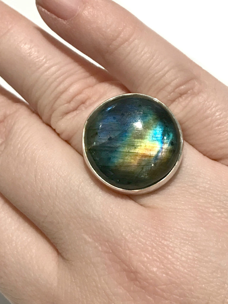Round Labradorite Ring | Size 7 8 Sterling Silver | Light Years Jewelry