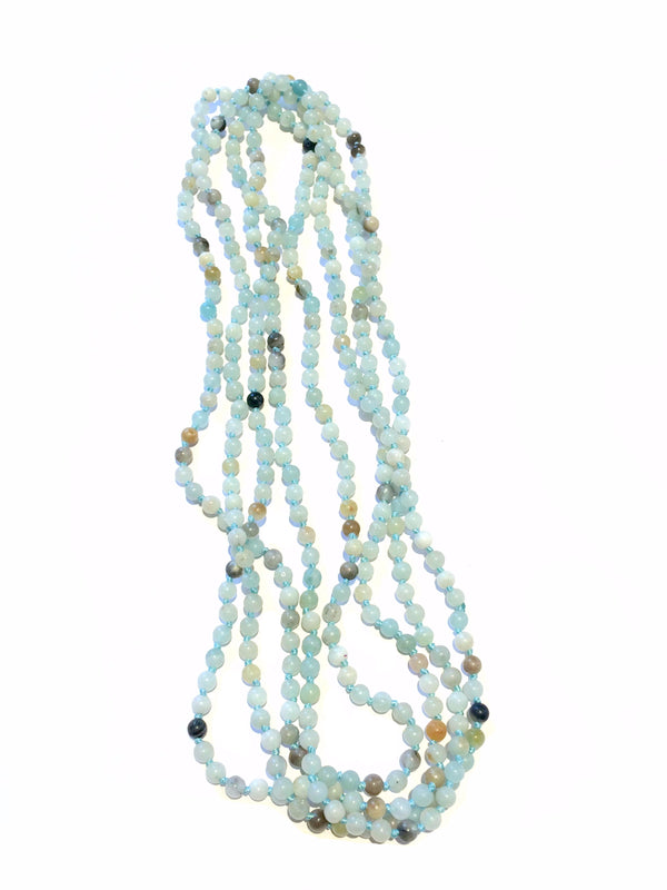 Long Beaded Gemstone Necklace