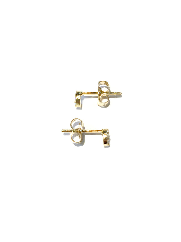 Tiny CZ Crescent Moon Posts | Gold Plated Studs Earrings | Light Years