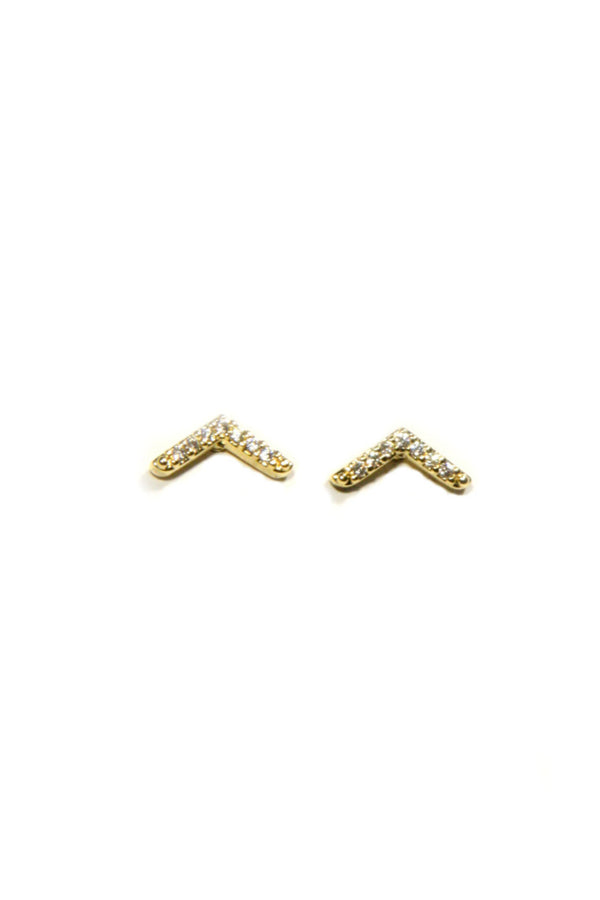 Clear CZ Chevron Posts, $8 | Gold Studs | Light Years Jewelry