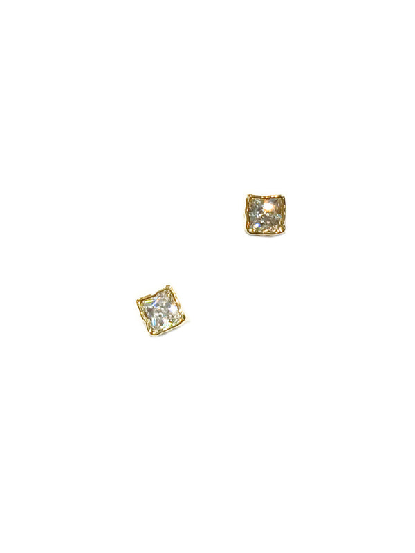 Small CZ Square Posts | Gold Silver Plated Studs Earrings | Light Years