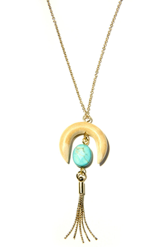 Stone Wood Crescent Necklace, $15 | Gold Plated | Light Years Jewelry