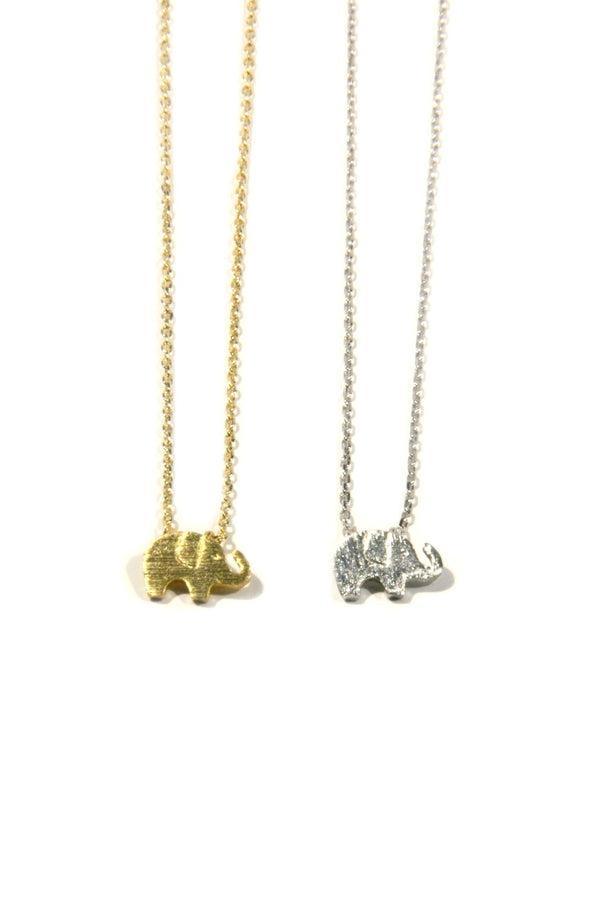 Brushed Elephant Necklace, $10 | Silver or Gold | Light Years Jewelry