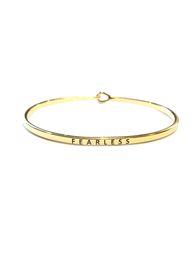 Fearless Cuff Bracelet | Silver Gold Plated Quote | Light Years Jewelry