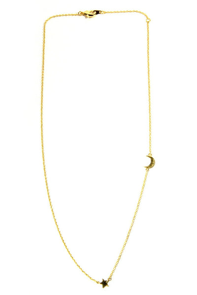 Floating Star & Moon Necklace, $11 | Gold Plated Choker | Light Years