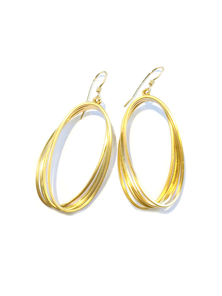 Twisted Oval Statement Dangle Earrings | 14kt Gold Fill | Light Years