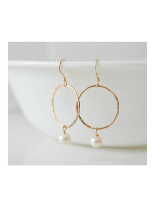 Golden Ring Pearl Drop Dangles | 14kt Gold Filled Earrings | Light Years