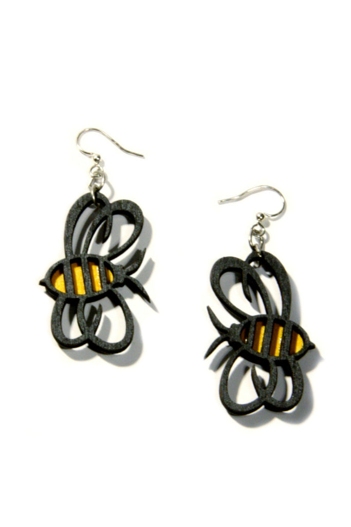 Wooden Bumblebee Dangles, $15 | Surgical Steel | Light Years Jewelry