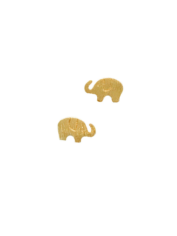 Brushed Elephant Posts | Silver Gold Plated Studs Earrings | Light Years