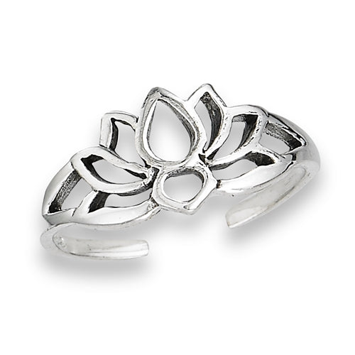 Open Lotus Toe Ring | Adjustable Sterling Silver | Light Years Jewelry
