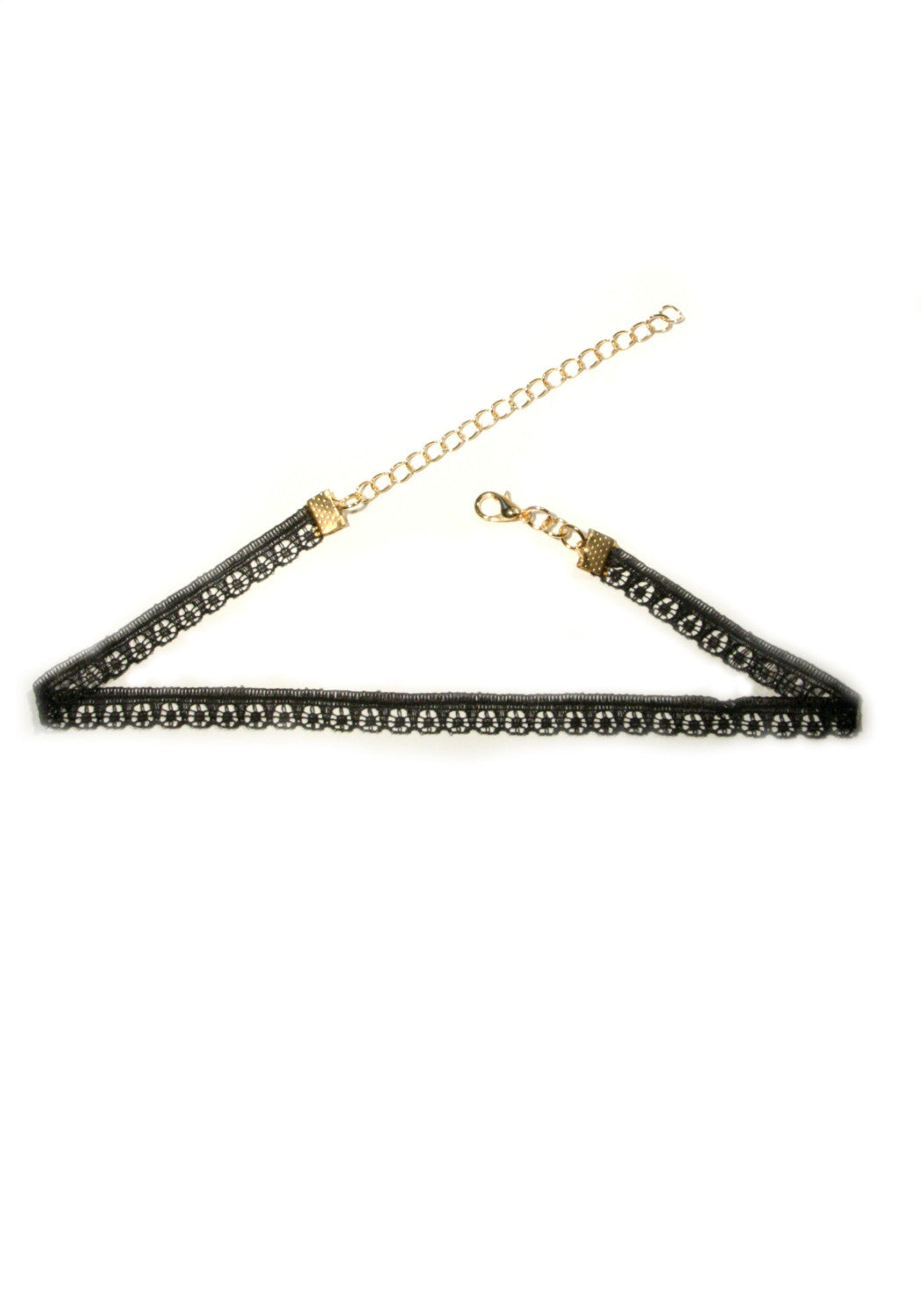 Thin Black Lace Choker, $6 | Gold Necklace | Light Years Jewelry