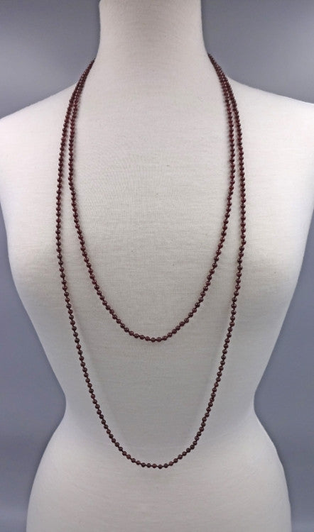 Long Gemstone Beaded Necklace | Garnet | Light Years Jewelry