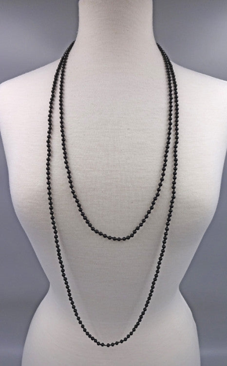 Long Gemstone Beaded Necklace | Black Onyx | Light Years Jewelry