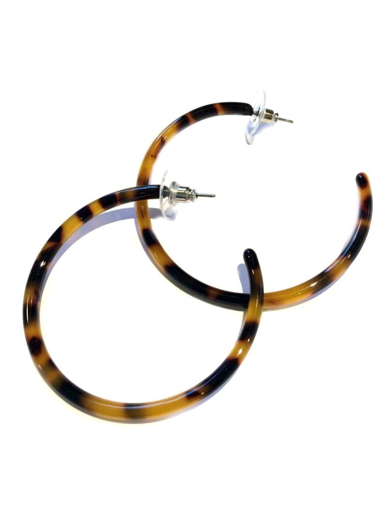 Thin Tortoiseshell Hoops | Statement Posts Earrings | Light Years Jewelry