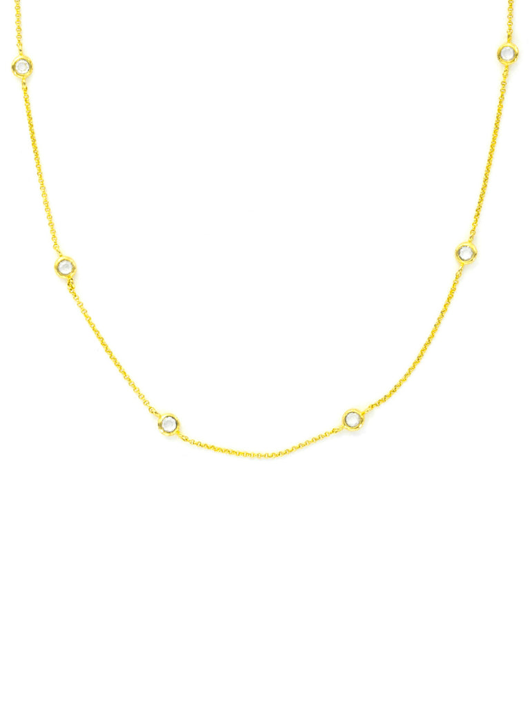 Floating CZ Necklace | Gold Silver Plated Chain | Light Years Jewelry