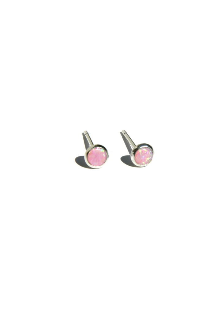 4mm Stone Posts, $9 | Pink Opal | Sterling Silver | Light Years Jewelry