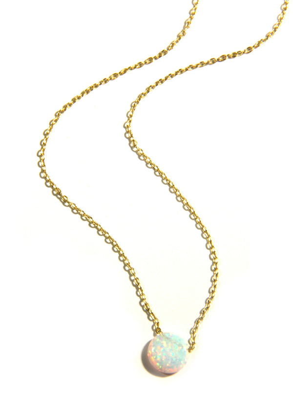 White Opal Disc Necklace | Gold Vermeil | Light Years Jewelry