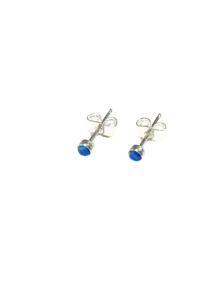 3mm White Blue Opal Posts | Sterling Silver Studs Earrings | Light Years