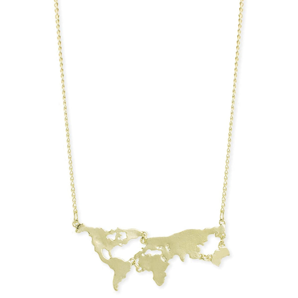 World Map Necklace, $14 | Gold or Silver | Light Years Jewelry