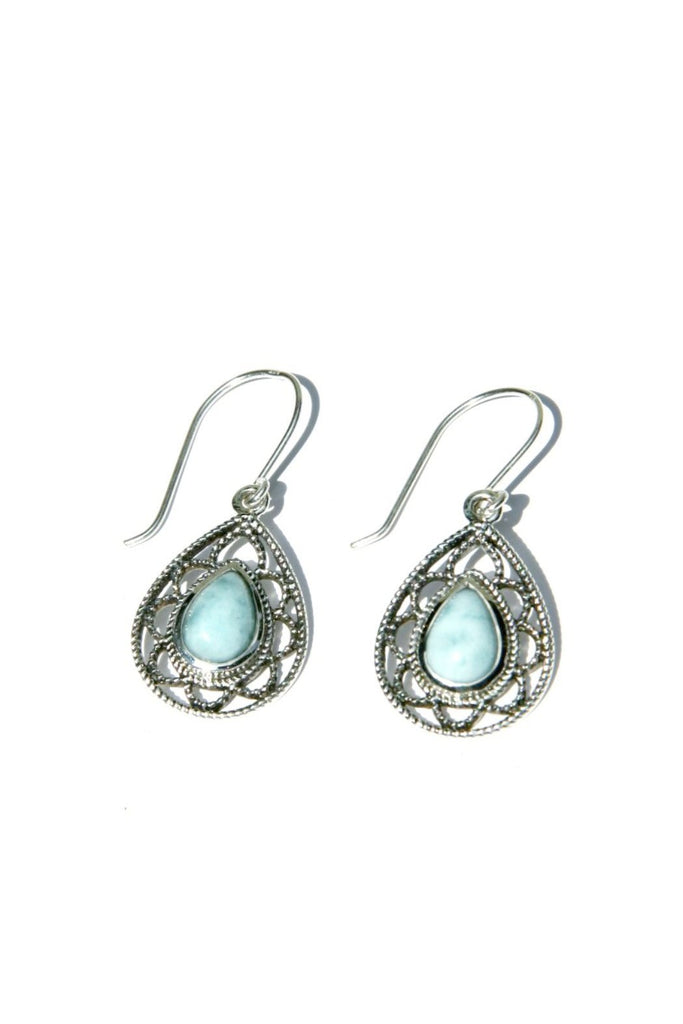 rhodium plated amazon dp com teardrop larimar blue nontarnish earrings