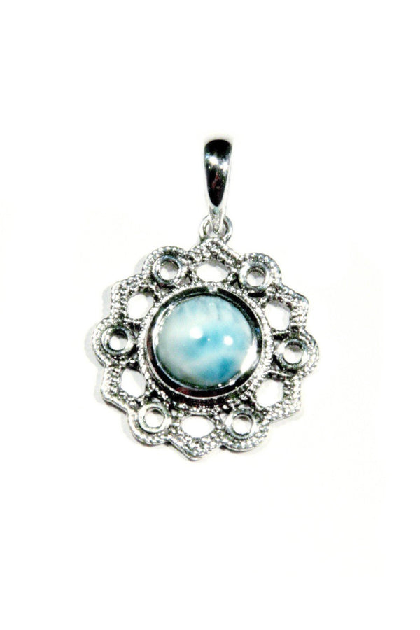 Larimar Filigree Pendant, $36 | Light Years Jewelry