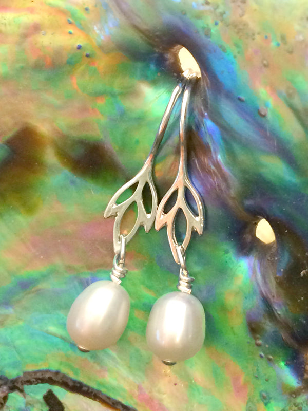 Wild Iris Pearl Dangles | Sterling Silver Earrings | Light Years