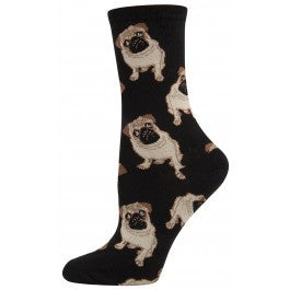 Black Pug Crew Socks, $7.50 | Light Years Jewelry