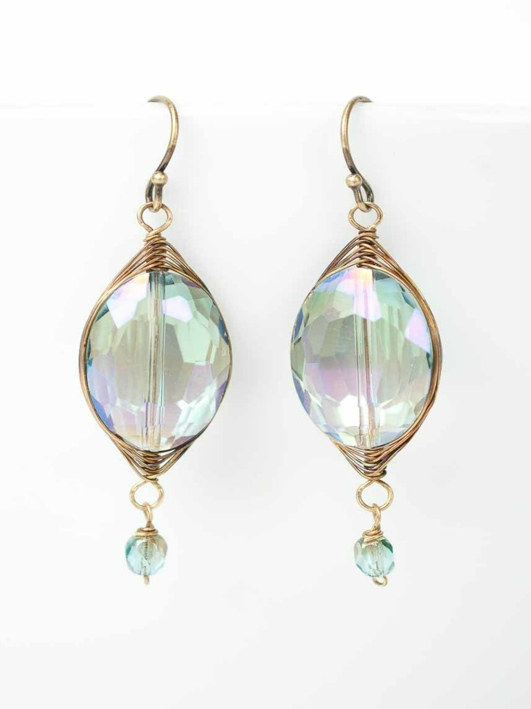 Crisp Autumn Wrapped Crystal Dangles | Handmade Earrings | Light Years