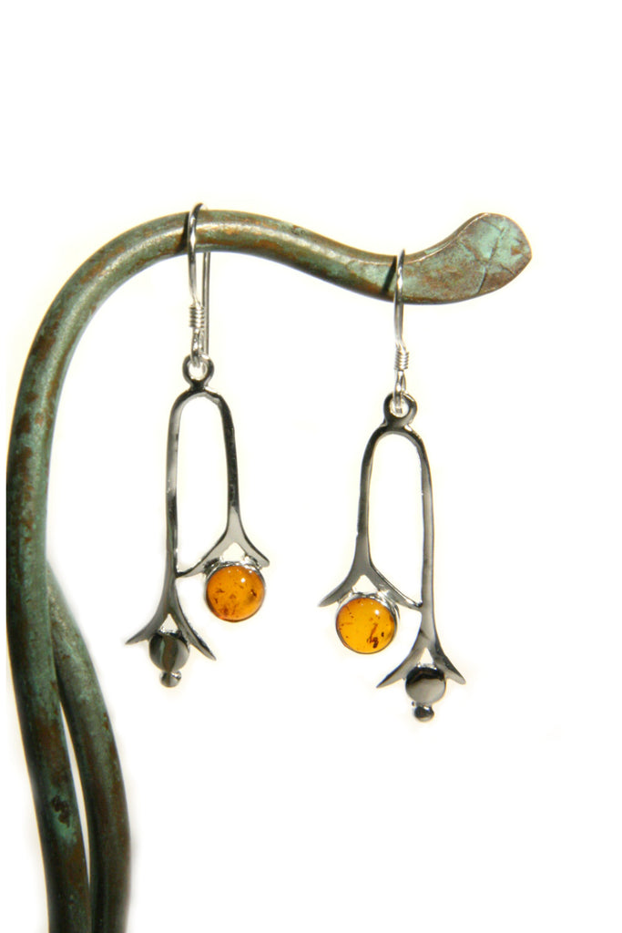 Sterling Silver Stone U-Drop Dangles, $29 | Amber or Onyx | Light Years