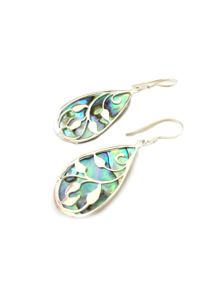 Shell Leaf Dangles | Sterling Silver Earrings | Light Years Jewelry