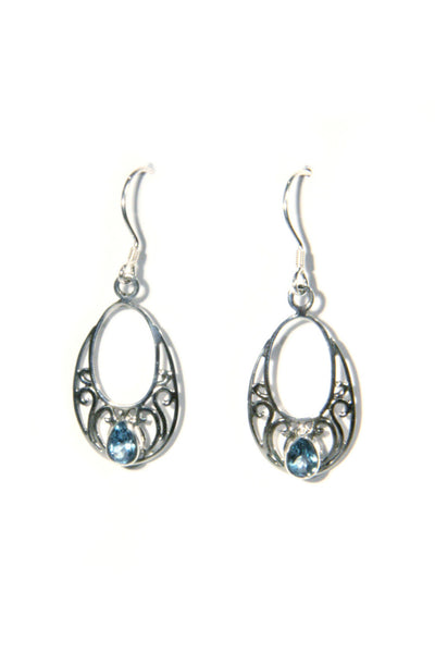 Blue Topaz Swirl Dangles, $26 | Handmade Earrings | Light Years Jewelry